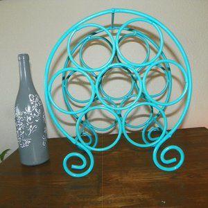 7 Wine Rack Rod Iron Metal Bottle Holder Turquoise